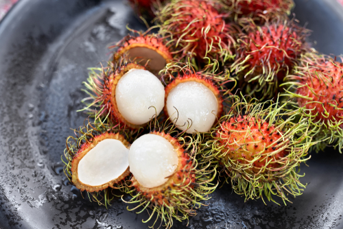 White fruit of rambutans